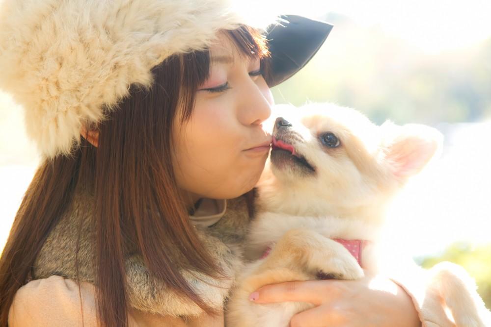 犬とキスする女の子